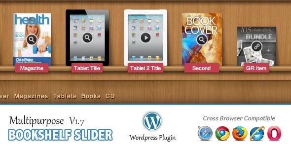 دانلود افزونه اسلایدر موضوعات وردپرس bookshelf slider